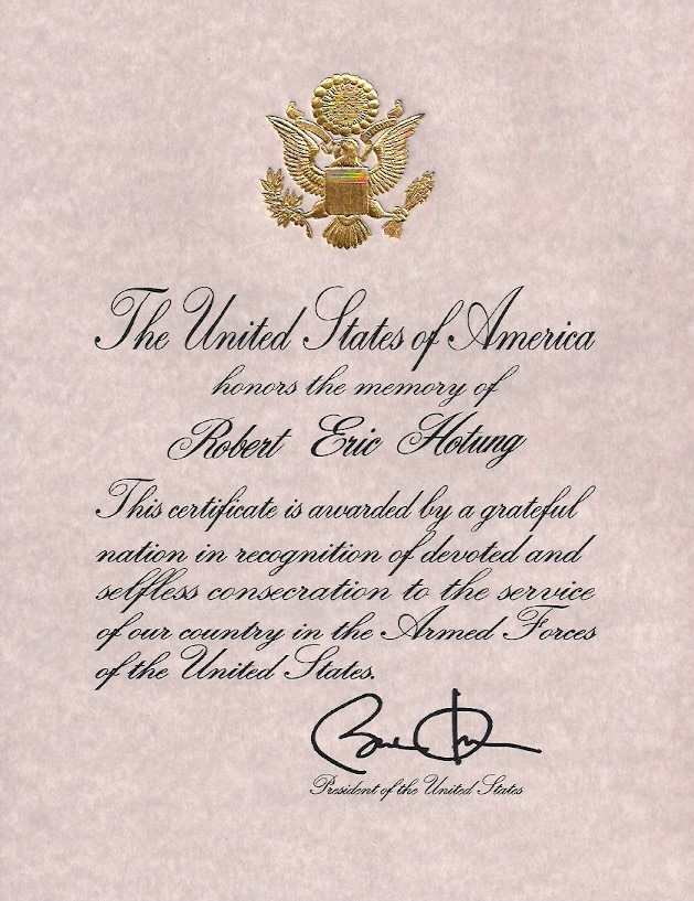 Presidential Honour, signed by President Obama